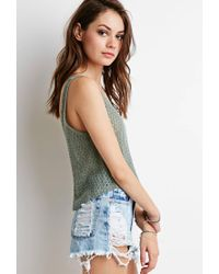 Forever 21 - Green Open-knit Crop Top - Lyst