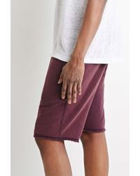 Forever 21 - Purple Frayed Drawstring Sweatshorts for Men - Lyst