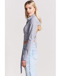 Forever 21 Blue Striped Open-back Shirt