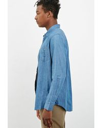 Forever 21 - Blue Classic Chambray Shirt for Men - Lyst