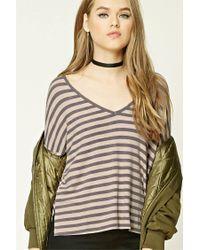 Forever 21 - Gray Striped V-neck Top - Lyst