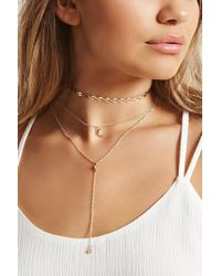 Forever 21 | Natural Layered Moon Charm Necklace | Lyst