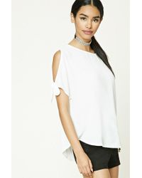 Forever 21 | White Dolman Tie-sleeve Tee | Lyst