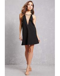 Forever 21 - Black Mesh Panel Cami Dress - Lyst