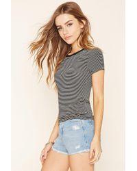 Forever 21 - Black Striped T-shirt - Lyst