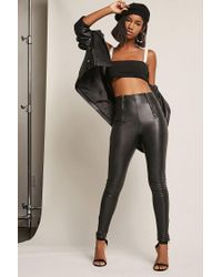 Forever 21 - Black Zippered Faux Leather Pants - Lyst