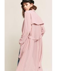 Forever 21 Pink Woven Accordion-pleat Duster Jacket