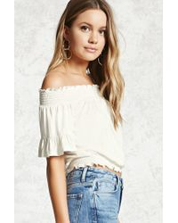 Forever 21 | White Smocked Off-the-shoulder Top | Lyst