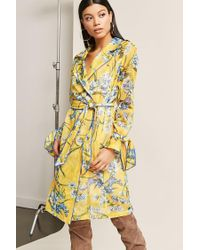 Forever 21 - Yellow Sheer Mesh Floral Trench Coat - Lyst