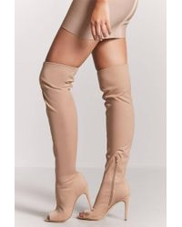 Forever 21 - Natural Over-the-knee Open-toe Boots - Lyst