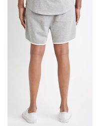 Forever 21 - Gray Contrast-trimmed Drawstring Sweatshorts for Men - Lyst