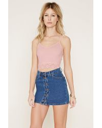 Forever 21 | Blue Lace-trimmed Cropped Cami | Lyst