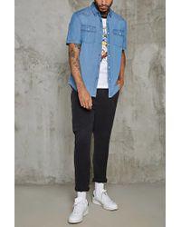 Forever 21 - Blue Slim-fit Cotton Denim Shirt for Men - Lyst
