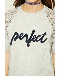 Forever 21 - Gray Perfect Graphic Lace Top - Lyst