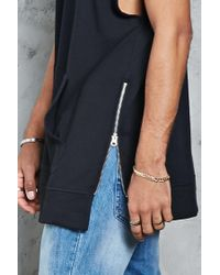 Forever 21 | Black French Terry Zip-hem Hoodie for Men | Lyst