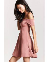 Forever 21 - Purple Off-the-shoulder Mini Dress - Lyst