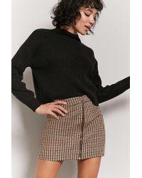 Forever 21 - Black Plaid Zip-front Skirt - Lyst