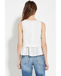 Forever 21 - White Contemporary Tonal-stripe Top - Lyst