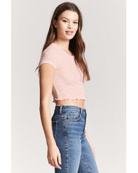 Forever 21 - Pink Lettuce-edge Crop Top - Lyst