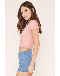 Forever 21 - Pink Lace-up Crop Top - Lyst