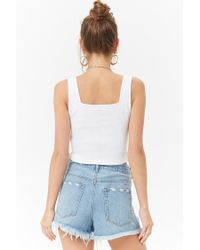 Forever 21 - White Parrot Embroidered Crop Top - Lyst