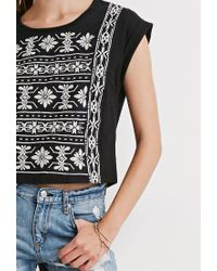 Forever 21 - Black Cuffed-sleeve Embroidery Top - Lyst