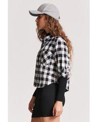 Forever 21 Black Plaid Roll-tab Shirt