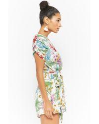 Forever 21 - Multicolor Floral Surplice Skort Romper - Lyst