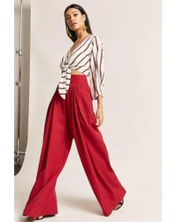 Forever 21 Red Pleated High-rise Palazzo Pants