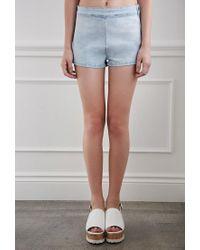 Forever 21 - Blue High-waisted Denim Shorts - Lyst