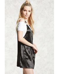 Forever 21 - Black Satin Overall Dress - Lyst
