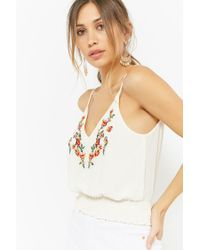 Forever 21 - White Women's Floral Embroidered Camisole Top - Lyst