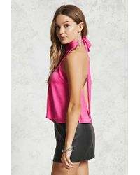Forever 21 - Pink Contemporary Satin Mock Top - Lyst