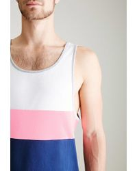 Forever 21 - White Colorblocked Piqué Tank Top for Men - Lyst