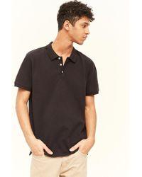 Forever 21 - Black 's Pique Knit Polo Shirt for Men - Lyst