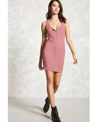 Forever 21 | Purple Snap Button Tank Dress | Lyst