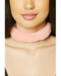 Forever 21 - Pink Women's Faux Fur Wrap Choker Necklace - Lyst
