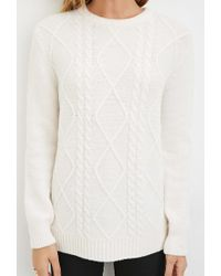 Forever 21 - Natural Cable Knit Fuzzy Sweater You've Been Added To The Waitlist - Lyst