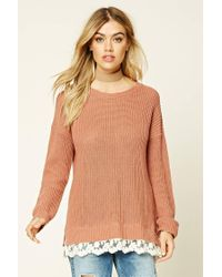 Forever 21 | Multicolor Scalloped Lace-hem Sweater | Lyst