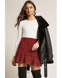 Forever 21 Red Faux Suede Stud Skirt
