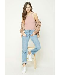 Forever 21 - Pink Marled Knit Cropped Cami - Lyst