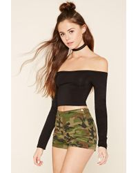 Forever 21 - Black High-rise Camo Shorts - Lyst