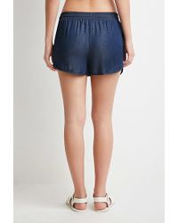 Forever 21 - Blue Chambray Dolphin Shorts - Lyst