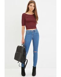 Forever 21 - Blue Distressed Skinny Ankle Jeans - Lyst