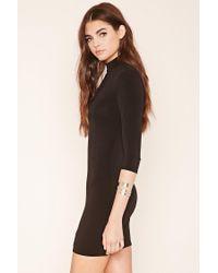 Forever 21 - Black Mock Neck Mini Dress - Lyst