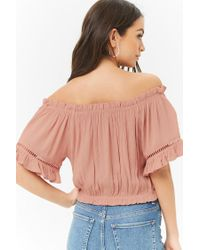 Forever 21 - Purple Ladder Cutout Off-the-shoulder Top - Lyst