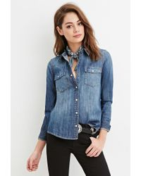 Forever 21 - Blue Snap-buttoned Denim Shirt - Lyst