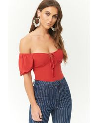 a3425f7ad277c Lyst - Forever 21 Off-the-shoulder Tie-front Top in Red
