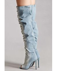 Forever 21 - Blue Privileged Shoes Denim Boots - Lyst