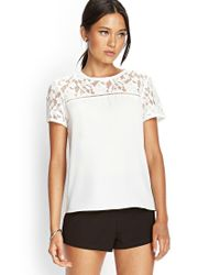 Forever 21 - White Floral Lace Woven Top - Lyst